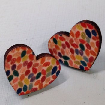 Wooden earrings hearts