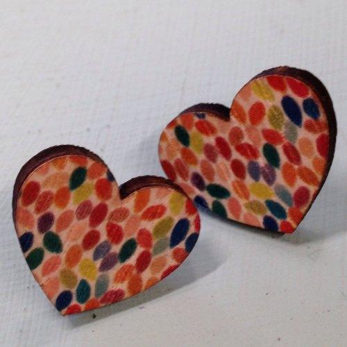 Wooden earrings hearts