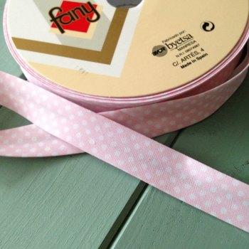 Polka dot bia binding pastel pink 18mm
