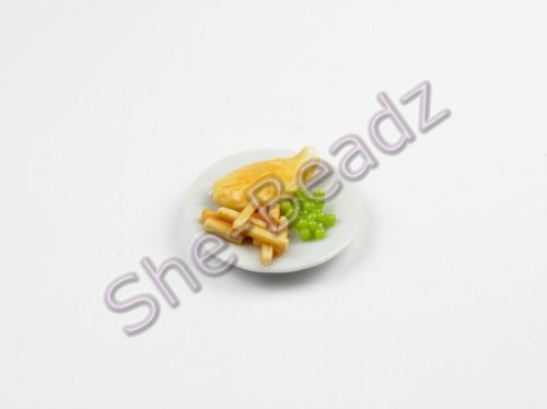 Minature Fish Chips & Peas on a Plate Pk 1