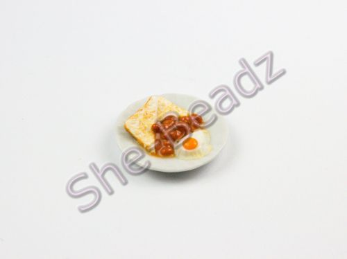 Minature Egg Beans & Fried Bread on a Plate Pk 1