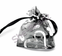 Organza Gift Bags Black Love Heart Pattern Pk 10