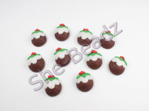 Polymer Clay Christmas Charms.Fimo Christmas Pudding Flatback Charms Pk 10