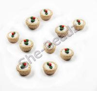 Fimo Mini Iced Mince Pie Charm beads Pk 10