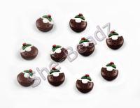 Fimo Christmas Pudding Disc Charms Pk 10