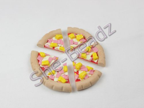 Fimo Slices Of Ham & Pineapple Pizza Charms Pk 6