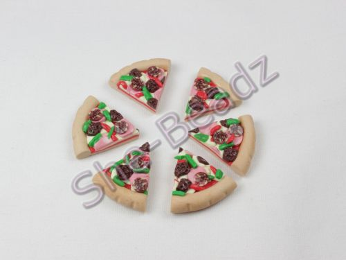 Fimo Slices Of Meat Feast Pizza Charms Pk 6