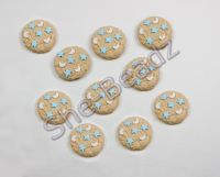 Fimo Mini Cookie with Moon & Star Sprinkles Charms. Pk 10