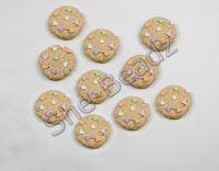 Fimo Mini Cookie with Heart Sprinkles Charms. Pk 10