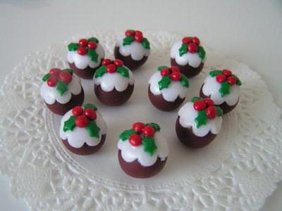 Polymer Clay Christmas Charms.Fimo Christmas Pudding Charm Beads Pk 10