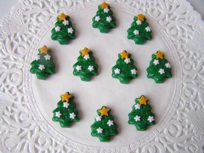 Polymer Clay Christmas Tree.Fimo Christmas Tree Charm Beads Green White Decorations Pk 10