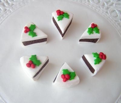 Polymer Clay Christmas Charms.Fimo Christmas Cake Charm Beads Pk 6