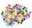 Striped Round Resin Spacer Beads Mixed 6mm