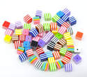 Striped Cube Resin Spacer Beads Mixed 8mm