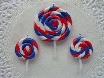 Fimo Red White & Blue Swirly Pop Charm & Pendant Pk 6