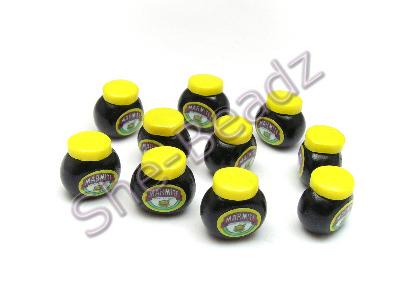 Fimo Marmite Jar Charm Beads Tiny (3D) Pk 10