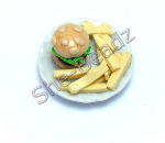 Burger & Chips on a Plate Pk 1