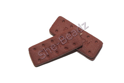 Fimo Large Bourbon Cream Biscuit Pendants Pk 2