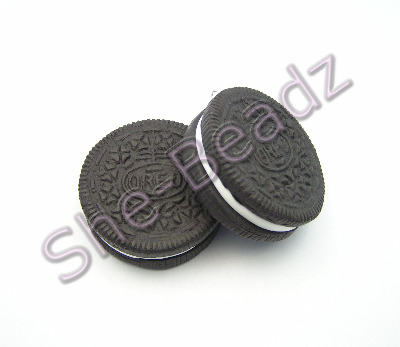 Fimo Large Oreo Biscuit Pendants Pk 2