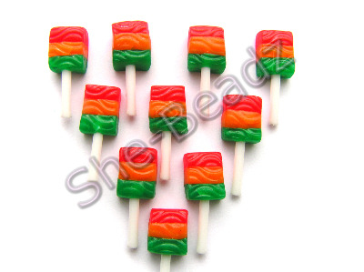 Fimo Traffic Light Lollypop Charms Pk 10