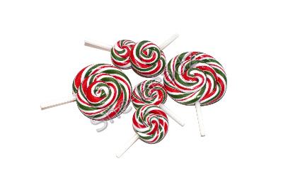 Fimo Christmas Swirly Pop Charm & Pendants Pk 6