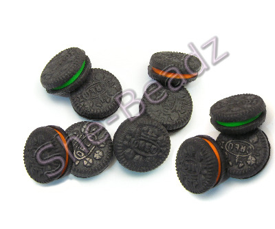 Fimo Oreo Biscuit Charm Beads Halloween Pk 10