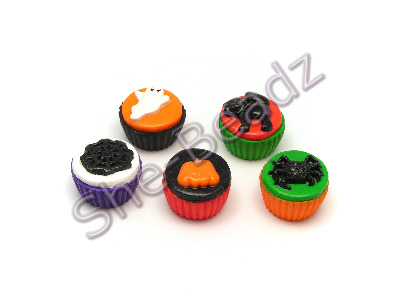 Fimo Halloween Mix Cupcake Charm Beads Pk 10