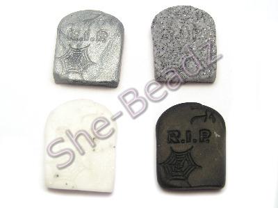 Fimo Grave Stone Charm Beads Pk 8