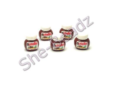 Fimo Nutella Jar Charm Beads Tiny (3D) Pk 10