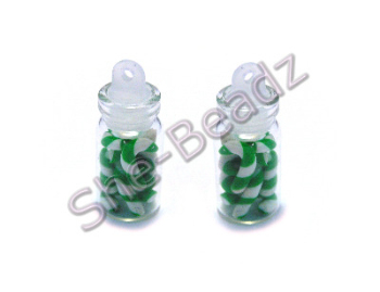 Miniature jar of Green & White Candy Canes Pk 2 Jars