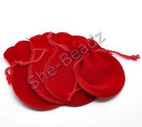 Red Velvet Jewelry Gift Bags Pk 10