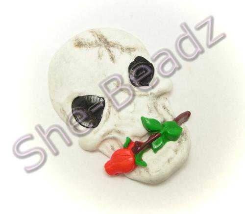 Fimo Skull & Rose Pendants Pk 2