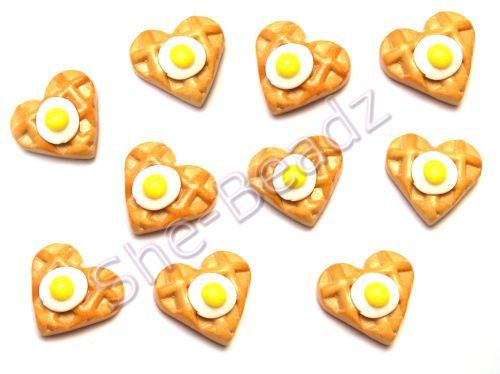 Fimo Egg Waffle Charm Beads Pk 10