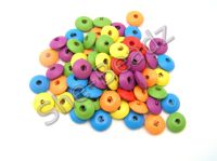 Wood Disc Beads Mixed colours 14mm x 6mm Pk 50