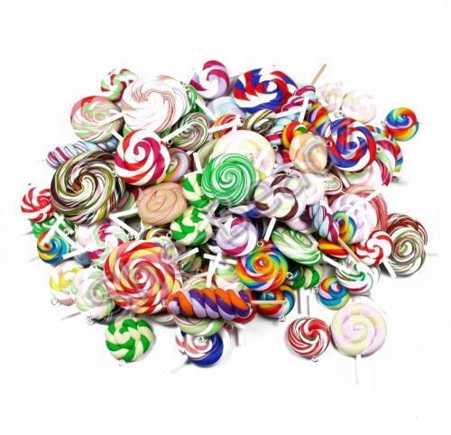 Fimo Mixed Swirly Pop Charm & Pendant Pk 50