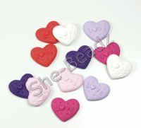 Fimo Embossed Heart Charms Pk 10