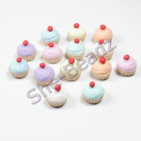 Fimo Mini Cherry Top Cupcake Charms Pk 10