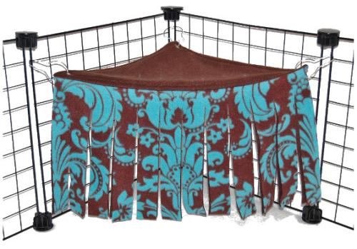 Blue Damask Corner Curtain