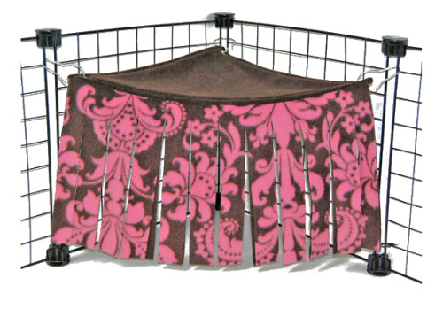 Pink Damask Corner Curtain