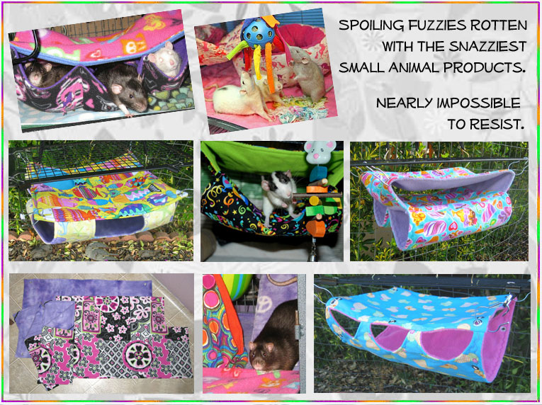Spoiling fuzzies rotten with the snazziest small animal products. Offering cage liners and hammocks for rats and other small animals.