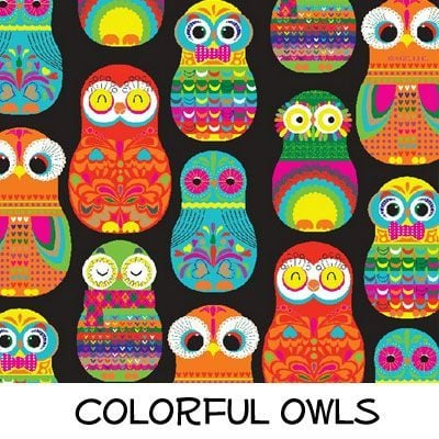 Fleece: Colorful Owls