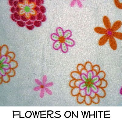 Fleece: Flowers on White