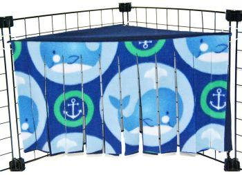 Green Whales Corner Curtain