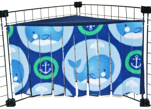 Green Whales Corner Curtain