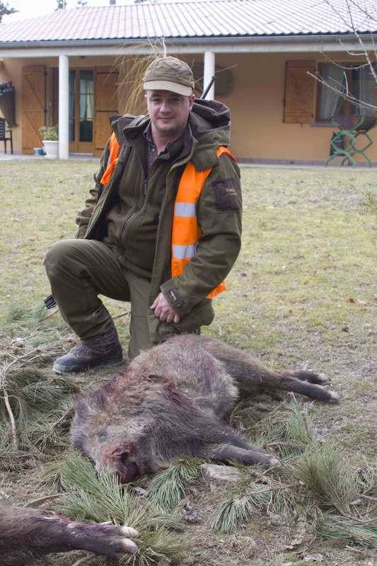 Jamie Allen with his first wild boar in france