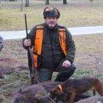 James Wright with a Boar in France