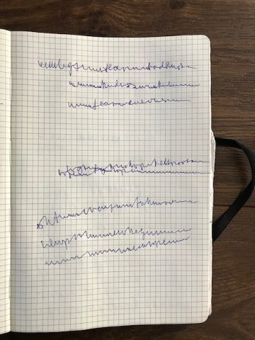 Righthabd side page of notebook with handwriting