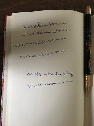 Handwriting in notebook, mostly illegible