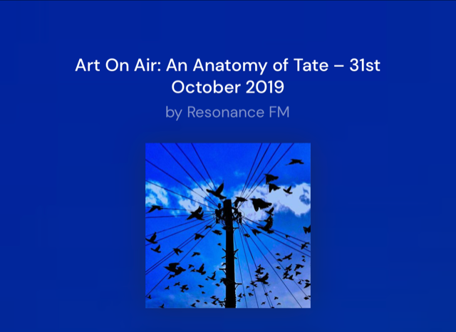 Whitetext on blue background: Art On Air: An anatomy of Tate. an image of birds flying around a telephone pole.