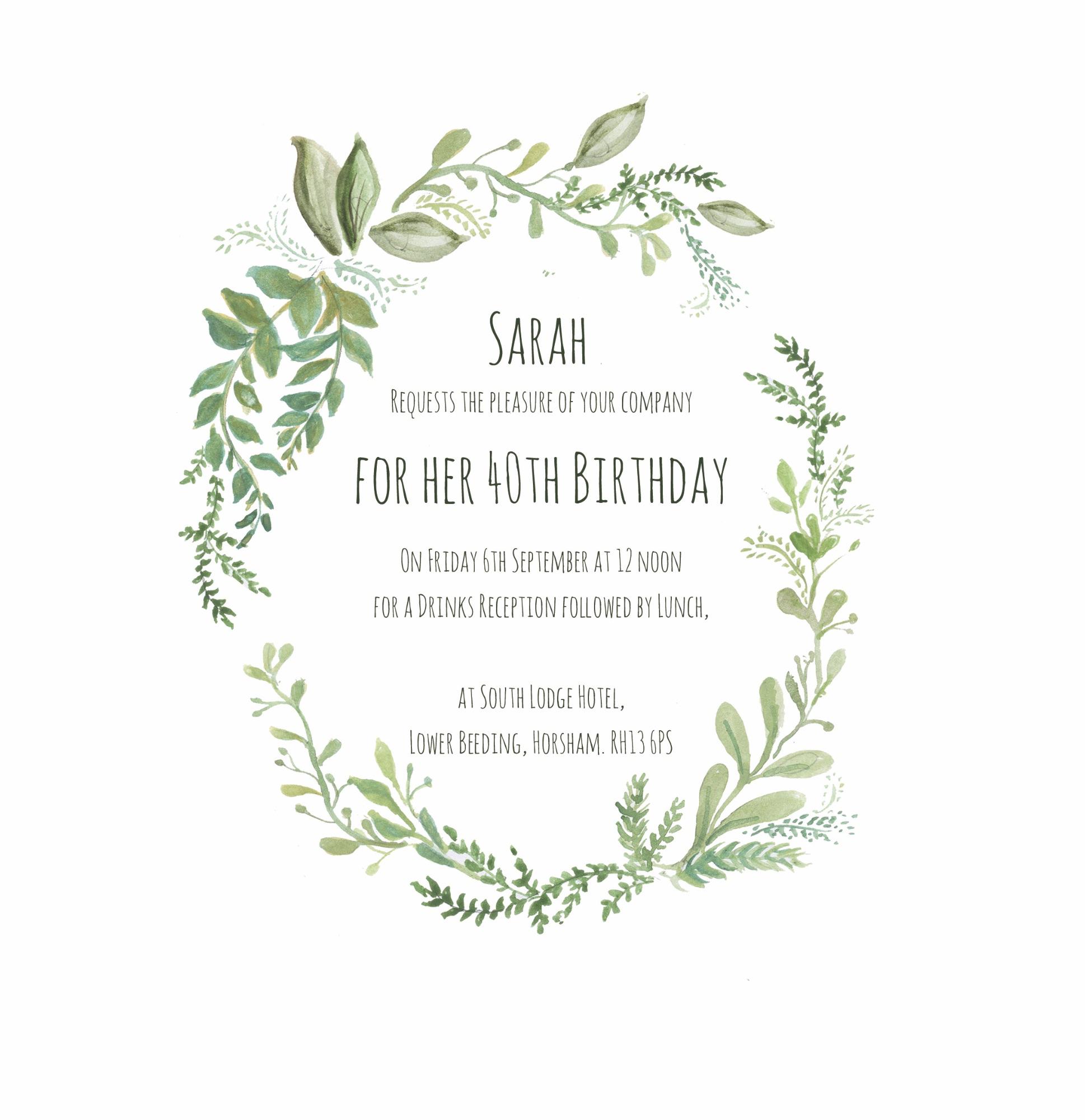 sarah 40th invitation